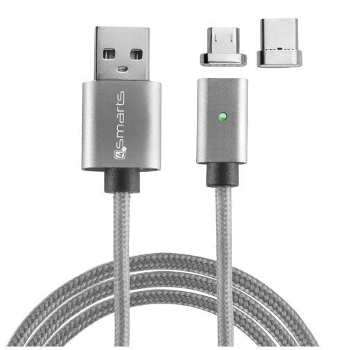 Productafbeelding van de 4smarts Magnetische Kabel USB naar USB-C + microUSB 1 meter Grey