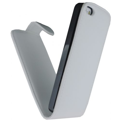 Productafbeelding van de Xccess Leather Flip Case White Apple iPhone 5/5S/SE
