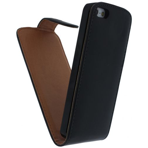 Productafbeelding van de Xccess Leather Flip Case Black Apple iPhone 5/5S/SE