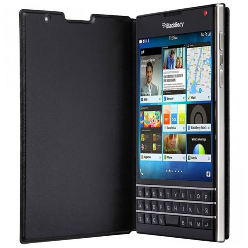 BlackBerry Leather Flip Case Black Passport