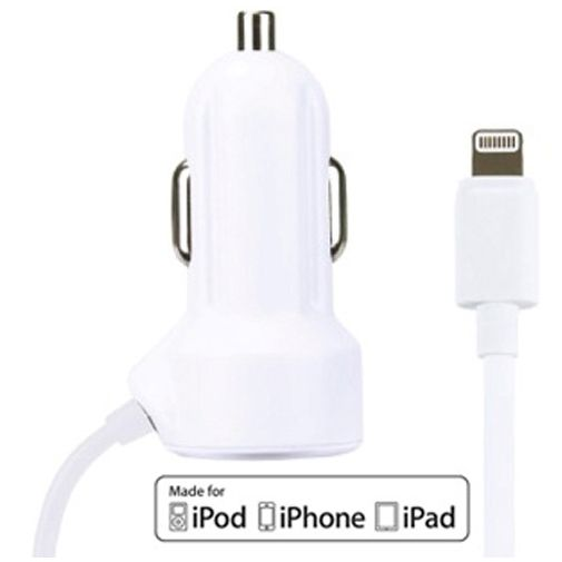 Gecko Snelle Autolader Apple Lightning 2.1A White