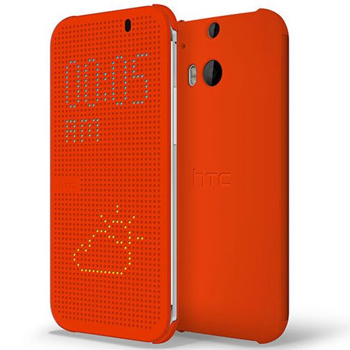 HTC One M8 Dot View Flip Case Orange