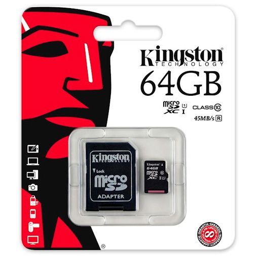 Kingston MicroSDXC 64GB Class 10 + adapter