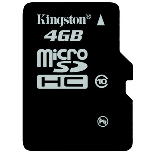 Productafbeelding van de Kingston microSDHC 4GB Class 10 + SD-Adapter