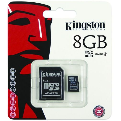 Productafbeelding van de Kingston microSDHC 8GB Class 4 + adapter