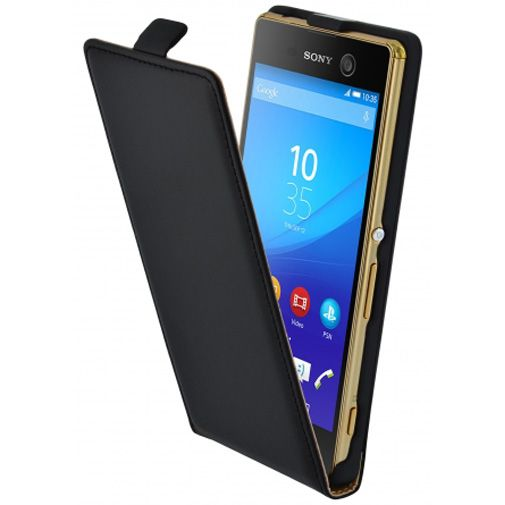 Mobiparts Essential Flip Case Black Sony Xperia M5