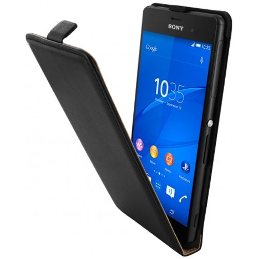 Mobiparts Essential Flip Case Black Sony Xperia Z3/Z3 Plus
