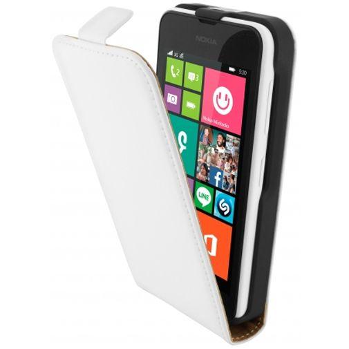 Mobiparts Premium Flip Case White Nokia Lumia 530