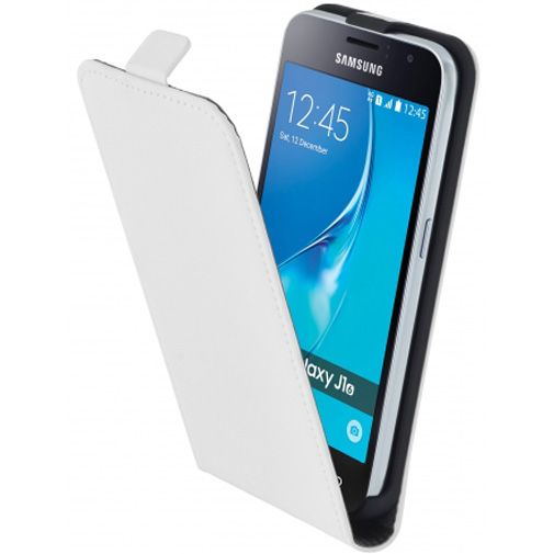 Mobiparts Premium Flip Case White Samsung Galaxy J1 (2016)