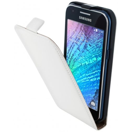 Mobiparts Premium Flip Case White Samsung Galaxy J1