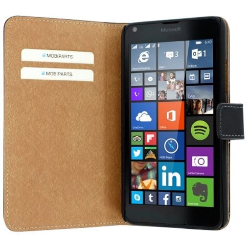 Mobiparts Premium Wallet Case Black Microsoft Lumia 640 4G