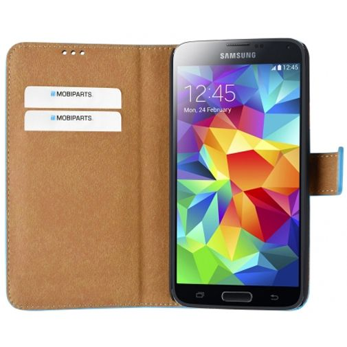 Productafbeelding van de Mobiparts Premium Wallet Case Light Blue Samsung Galaxy S5/S5 Plus/S5 Neo