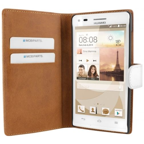 Mobiparts Premium Wallet Case White Huawei Ascend G6