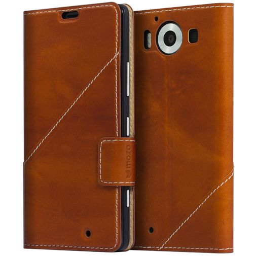 Productafbeelding van de Mozo Book Cover Brown Microsoft Lumia 950