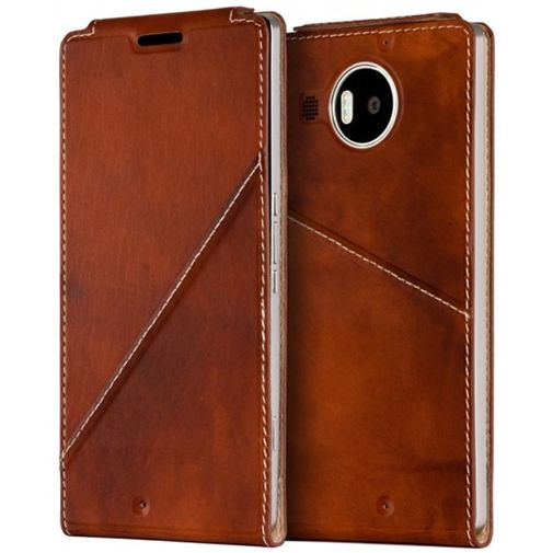 Mozo Flip Cover Brown Microsoft Lumia 950 XL