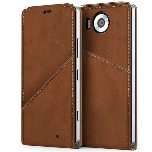 Mozo Flip Cover Brown Microsoft Lumia 950