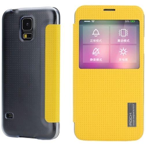 Rock Side Flip Case Elegant Lemon Yellow Samsung Galaxy S5/S5 Plus/S5 Neo