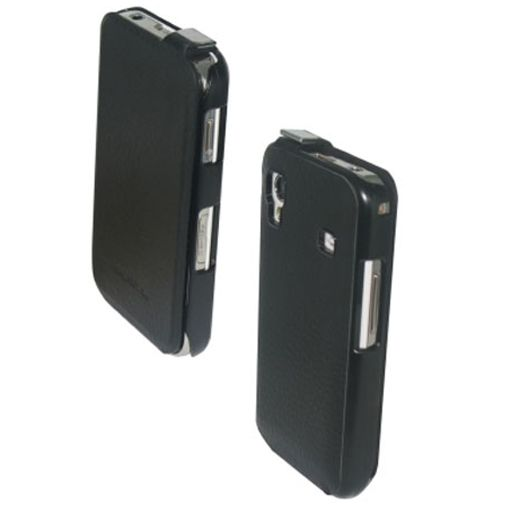 Samsung Galaxy Ace Leather Flip Case Black