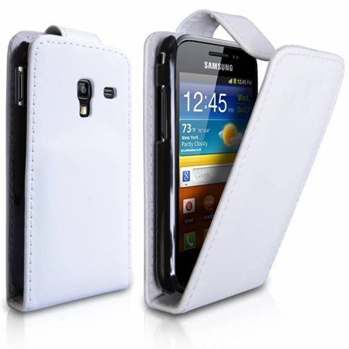 Productafbeelding van de Samsung Galaxy Ace Leather Flip Case White