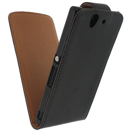 Xccess Leather Flip Case Black Sony Xperia Z