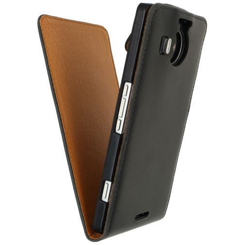 Xccess Leather Flip Case Black Microsoft Lumia 950 XL