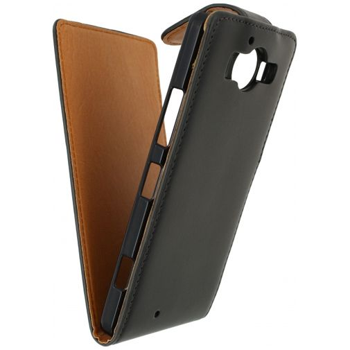 Xccess Leather Flip Case Black Microsoft Lumia 950