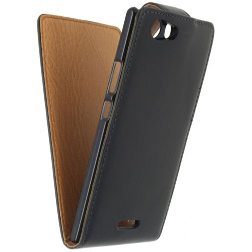 Xccess Leather Flip Case Black Sony Xperia C4