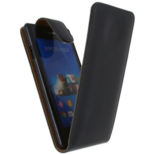 Xccess Leather Flip Case Black Sony Xperia E3