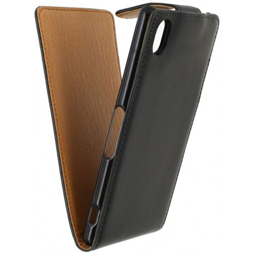 Xccess Leather Flip Case Black Sony Xperia M4 Aqua