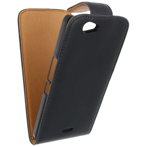 Xccess Leather Flip Case Black Wiko Getaway