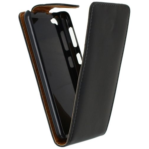 Xccess Leather Flip Case Black Wiko Jimmy