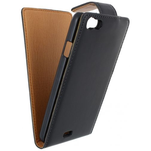 Xccess Leather Flip Case Black Wiko Lenny