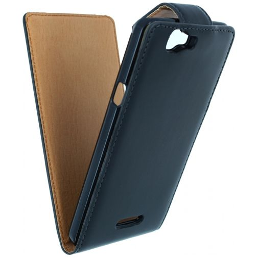 Xccess Leather Flip Case Black Wiko Rainbow