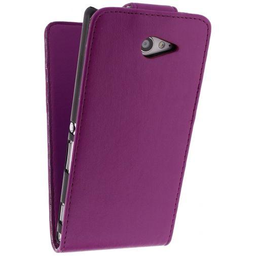 Xccess Leather Flip Case Purple Sony Xperia M2