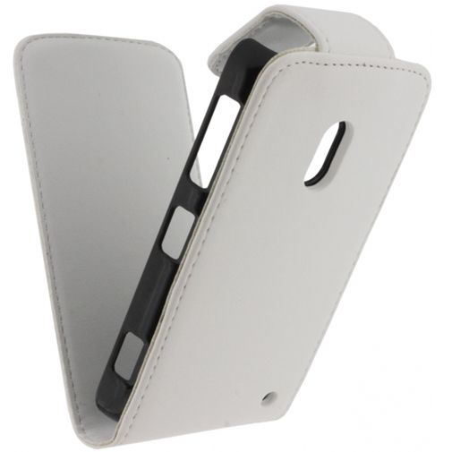 Xccess Leather Flip Case White Nokia Lumia 620