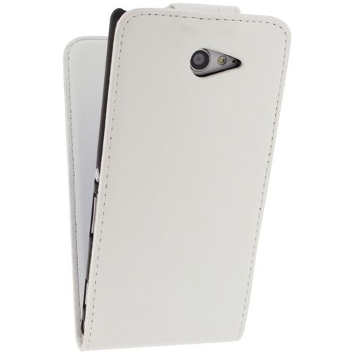 Xccess Leather Flip Case White Sony Xperia M2