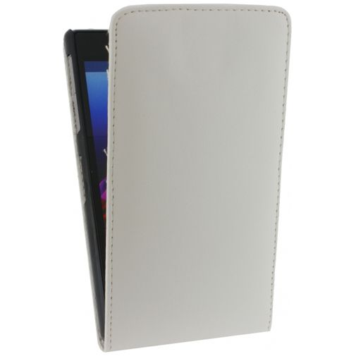 Xccess Leather Flip Case White Sony Xperia Z1