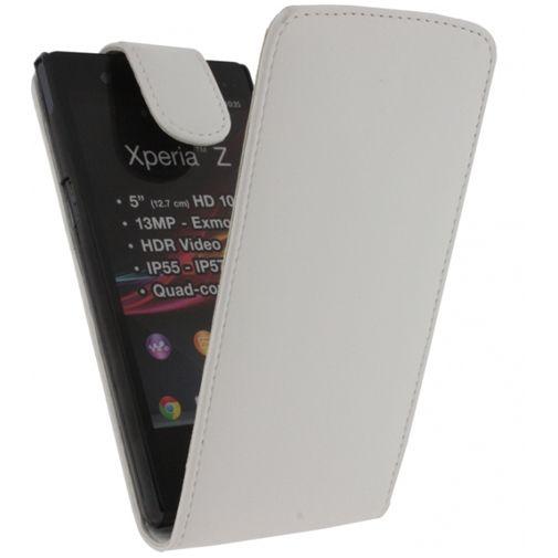 Xccess Leather Flip Case White Sony Xperia Z