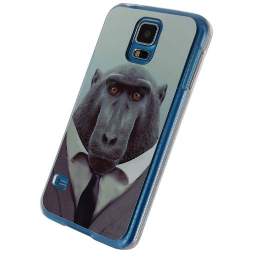 Xccess Metal Plate Cover Funny Chimpanzee Samsung Galaxy S5/S5 Plus/S5 Neo