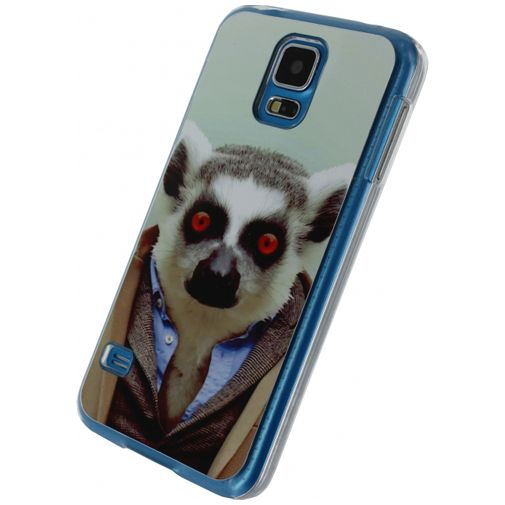 Xccess Metal Plate Cover Funny Lemur Samsung Galaxy S5/S5 Plus/S5 Neo