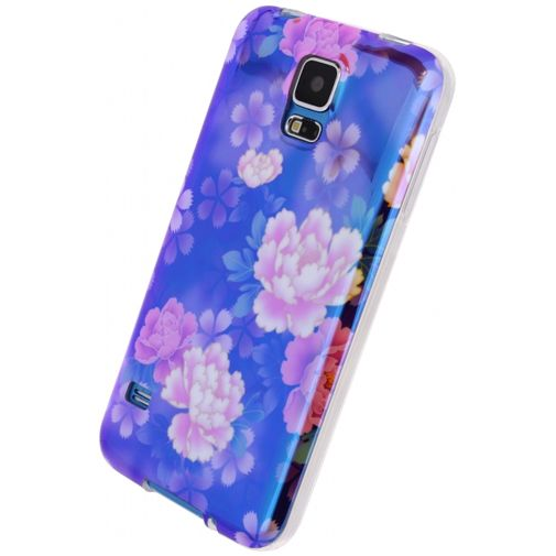 Xccess Oil TPU Case Purple Flower Samsung Galaxy S5/S5 Plus/S5 Neo