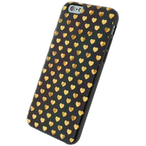 Xccess TPU Case Black/Golden Hearts Apple iPhone 6/6S