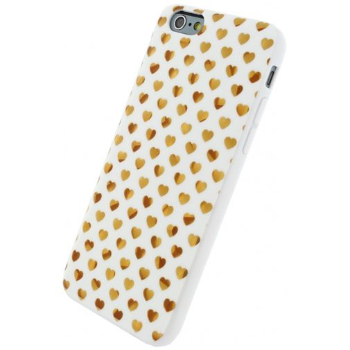 Xccess TPU Case White/Golden Hearts Apple iPhone 6