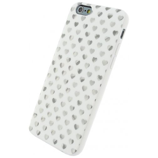 Xccess TPU Case White/Silver Hearts Apple iPhone 6/6S