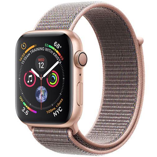 Productafbeelding van de Apple Watch Series 4 Sport 44mm Gold Aluminium (Rose Gold Woven Nylon Strap)