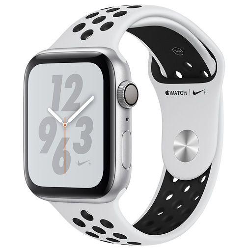 Productafbeelding van de Apple Watch Series 4 Sport Nike+ 44mm Silver Aluminium (Silver/Black Silicone Strap)