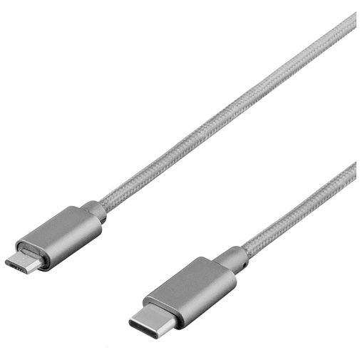 Deltaco Micro-USB naar USB-C Kabel Fabric Coated 1 meter Grey