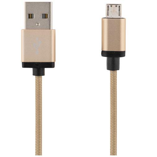 Deltaco USB naar Micro-USB Kabel Fabric Coated 2 meter Gold