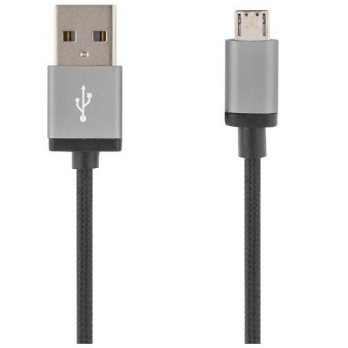 Deltaco USB naar Micro-USB Kabel Fabric Coated 2 meter Black