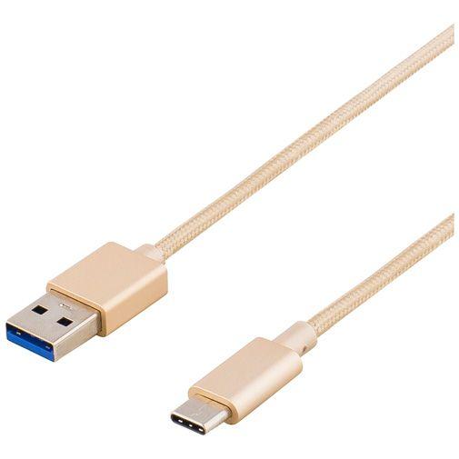Deltaco USB naar USB-C Kabel Fabric Coated 1 meter Gold